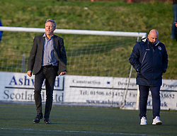 Broxburn Athletic manager Brian McNaughton and Cowdenbeath's manager Gary Bollan at the end. Broxburn Athletic FC 3 v 0 Cowdenbeath, William Hill Scottish Cup 2nd Round replay played 26/10/2019 at Albyn Park, Greendykes Road, Broxburn.