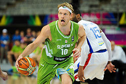 Miha Zupan of Slovenia during basketball match between National Teams of Slovenia and Dominican Republic in Eight-finals of FIBA Basketball World Cup Spain 2014, on September 6, 2014 in Palau Sant Jordi, Barcelona, Spain. Photo by Tom Luksys  / Sportida.com <br /> ONLY FOR Slovenia, France