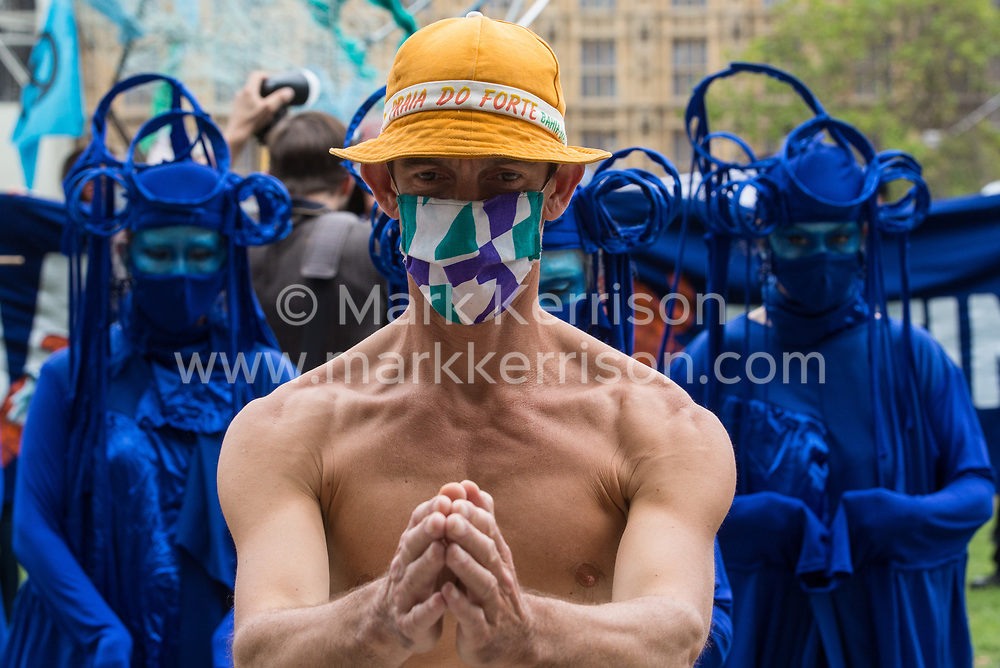 Blue rebels join fellow climate activists from the Ocean Rebellion and Extinction Rebellion preparing to take part in a colourful Marine Extinction March on 6 September 2020 in London, United Kingdom. The activists, who are attending a series of September Rebellion protests around the UK, are demanding environmental protections for the oceans and calling for an end to global governmental inaction to save the seas.