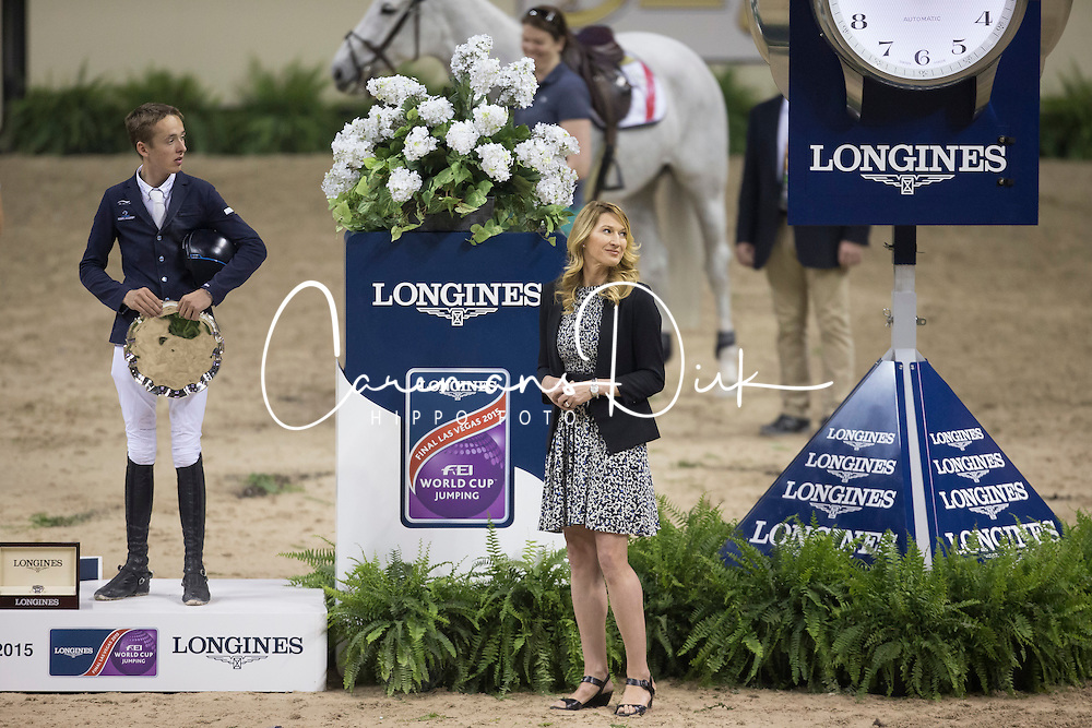 Bretram Allen (IRL) third placed of the Longines FEI World Cup™ Jumping Final during the prize giving with Steffie Graf and Juan Carlos Capelli, Vice president Longines<br /> Las Vegas 2015<br />  © Hippo Foto - Dirk Caremans<br /> Final III round 2 20/04/15