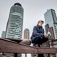 Nederland, Rotterdam, 22 februari 2016.<br />Winfried Baijens op de kop van Zuid in Rotterdam.<br />Winfried Baijens is een Nederlands journalist en radio/televisiepresentator.<br /><br /><br /><br />Foto: Jean-Pierre Jans
