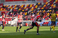 Brentford Forward Ivan Toney(#17) celebrates his penalty goal that put Brentford 2-0 up in the EFL Sky Bet Championship match between Brentford and Watford at Brentford Community Stadium, Brentford, England on 1 May 2021.