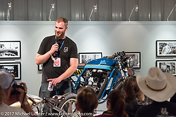 Custom builder Peter Muller of Federal Moto in Chicago speaking about his Royal Enfield at the Old Iron - Young Blood exhibition media and industry reception in the Motorcycles as Art gallery at the Buffalo Chip during the annual Sturgis Black Hills Motorcycle Rally. Sturgis, SD. USA. Sunday August 6, 2017. Photography ©2017 Michael Lichter.