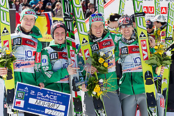 Second placed team of Norway: Rune Velta, Anders Fannemel, Bjoern Einar Romoeren and Anders Bardal  at flower ceremony after the Flying Hill Team competition at 3rd day of FIS Ski Jumping World Cup Finals Planica 2012, on March 17, 2012, Planica, Slovenia. (Photo by Vid Ponikvar / Sportida.com)