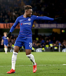 Chelsea's Callum Hudson-Odoi celebrates scoring his side's third goal of the game during the UEFA Europa League, round of 16 first leg match at Stamford Bridge, London.