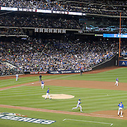 Pitcher Matt Harvey, watches the out of Alcides Escobar, Kansas City Royals, while pitching during the New York Mets Vs Kansas City Royals, Game 5 of the MLB World Series at Citi Field, Queens, New York. USA. 1st November 2015. Photo Tim Clayton