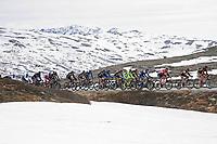 Sykkel<br /> Tour of Norway 2015<br /> Foto: imago/Digitalsport<br /> NORWAY ONLY<br /> <br /> Das Fahrerfeld durchquert die norwegische Landschaft auf der 4.Etappe 2015 am Imingfjell Pass - Landschaft - Landscape - Iluustration - Impression - Aktion - Rennszene - Querformat - quer - horizontal - Event / Veranstaltung: Tour of Norway - Norwegen Rundfahrt 2015 - Stage 4 / 4.Etappe: Rjukan nach Geili 168.3 km - Location / Ort: Geilo - Norway - Norwegen - Europe - Europa - Date / Datum: 23.05.2015