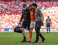 Blackpool's Keshi Anderson leaves the pitch through injury <br /> <br /> Photographer Andrew Kearns/CameraSport<br /> <br /> The EFL Sky Bet League One Play-Off Final - Blackpool v Lincoln City - Sunday 30th May 2021 - Wembley Stadium - London<br /> <br /> World Copyright © 2021 CameraSport. All rights reserved. 43 Linden Ave. Countesthorpe. Leicester. England. LE8 5PG - Tel: +44 (0) 116 277 4147 - admin@camerasport.com - www.camerasport.com