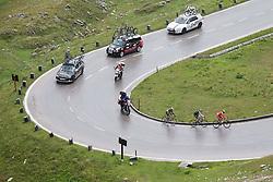 """10.07.2014, Grossglockner Hochalpenstrasse, AUT, 66. Österreich Radrundfahrt, 5. Etappe, Matrei nach St. Johann Alpendorf, im Bild v.l. Gregor Mühlberger (AUT), Jesse Sergent (NZL), Johan Bagot (FRA) beim Anstieg zur Bergwertung """"Glocknerkönig"""" // during the 66 th Tour of Austria, Stage 5, from the Matrei to St. Johann Alpendorf, Grossglockner Hochalpenstrasse, Austria on 2014/07/10. EXPA Pictures © 2014, PhotoCredit: EXPA/ Johann Groder"""