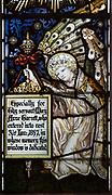 Mary Anne Garrett Memorial stained glass window  female martyrs 1897, Church of Saint Margaret, Leiston, Suffolk, England, UK by C.E. Kempe ( 1837-1907)