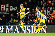 Olivier Giroud (12) of Arsenal celebrates scoring the equalising goal with a scorpion kick to make the score 3-3 during the Premier League match between Bournemouth and Arsenal at the Vitality Stadium, Bournemouth, England on 3 January 2017. Photo by Graham Hunt.