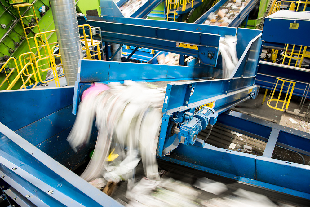 River of paper products flowing through the MRF.