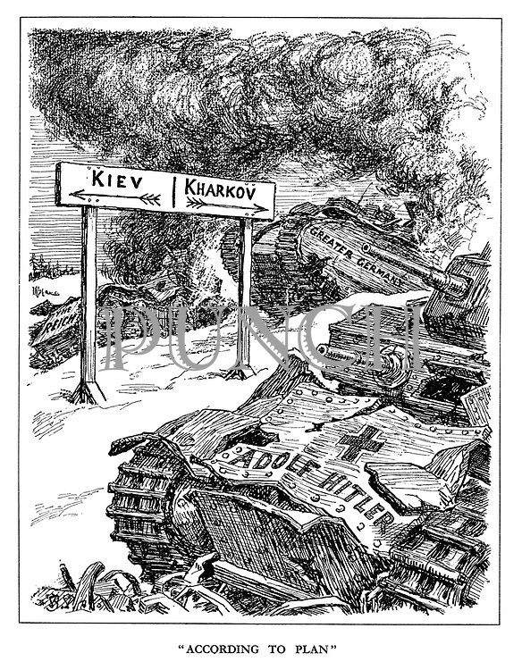 """""""According to Plan"""". (tanks bearing the names Adolf Hitler, Greater Germany and The Reich lie burning and in ruins after the battles of Kiev and Kharkov)"""