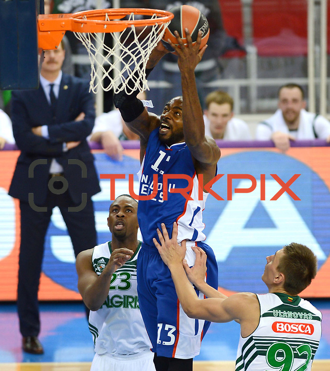 Anadolu Efes's Stephane Lasme (C) and Zalgiris Kaunas's James Anderson (L) during their Turkish Airlines Euroleague Basketball Group A Round 3 match Anadolu Efes between Zalgiris Kaunas at Abdi ipekci arena in Istanbul, Turkey, Thursday, October 30, 2014. Photo by Aykut AKICI/TURKPIX