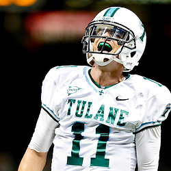 Oct 5, 2013; New Orleans, LA, USA; Tulane Green Wave quarterback Nick Montana (11) celebrates after throwing a touchdown pass during the first half against the North Texas Mean Green at Mercedes-Benz Superdome. Mandatory Credit: Derick E. Hingle-USA TODAY Sports