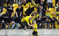 Wellington Phoenix's Louis Fento celebrates with the fans after scoring against Sudney FC in the A-League foootball match at Westpac Stadium, Wellington, New Zealand, Saturday, October 06, 2012. Credit:SNPA / Ross Setford