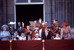 Members of the Royal Family on the balcony of Buckingham Palace after the Trooping the Colour ceremony.