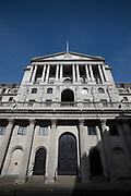 City of London England UK March 2021<br />The Bank of England. The Bank of England is the central bank of the United Kingdom and the model on which most modern central banks have been based. Established in 1694 to act as the English Government's banker, and still one of the bankers for the Government of the United Kingdom, it is the world's eighth-oldest bank.<br />Info from Symbols and Secrets blog site: The caduceus (winged staff) on the left is surmounted by a sailing ship from the days of the Bank's foundation.The one on the right has the hand of Zeus grasping the lightning which symbolises electrical force. Above these are the constellations of Ursa Major and the Southern Cross, which stand for both sides of the world, and imply the world-wide extent of the Bank's operations. The lions symbolise protection and strength.