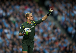 MANCHESTER, ENGLAND - Monday, April 30, 2012: Manchester City's goalkeeper Joe Hart during the Premiership match against Manchester United at the City of Manchester Stadium. (Pic by David Rawcliffe/Propaganda)