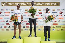 07.04.2019, Wien, AUT, Vienna City Marathon 2019, im Bild v. l. Tadesse Abraham (SUI), Vincent Kipchumba (KEN), Solomon Mutai (UGA)// during the Vienna City Marathon 2019 in Vienna, Austria on 2019/04/07. EXPA Pictures © 2019, PhotoCredit: EXPA/ Florian Schroetter