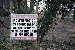 Sign warning against dumping, Thorpeness, Suffolk, UK