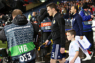 Scotland defender Andy Robertson (3) (Liverpool) leads out the team for the UEFA Nations League match between Scotland and Israel at Hampden Park, Glasgow, United Kingdom on 20 November 2018.