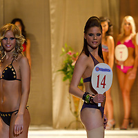 Petra Prancz (left) and Kitti Racz (right) attends the Miss Hungary 2010 beauty contest held in Budapest, Hungary on November 29, 2010. ATTILA VOLGYI