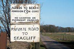 Sign at entrance to private Seacliff Beach in East Lothian , Scotland, United Kingdom
