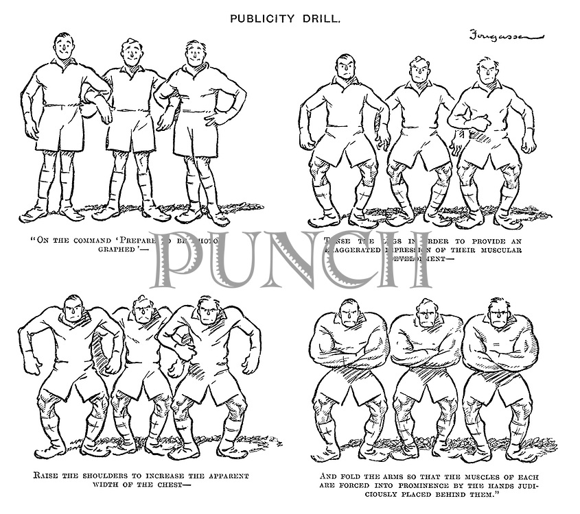 """Publicity Drill. """"On the command 'prepare to be photographed' — Tense the legs in order to provide an exaggerated impression of their muscular development — Raise the shoulders to increase the apparent width of the chest — And fold the arms so that the muscles of each are forced into prominence by the hands judiciously placed behind them."""""""