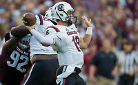 South Carolina quarterback Jake Bentley (19) pass down field against Texas A&M during the first quarter of an NCAA college football game Saturday, Sept. 30, 2017, in College Station, Texas. (AP Photo/Sam Craft)