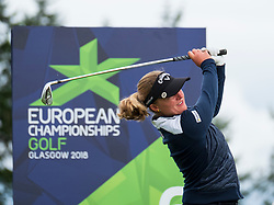 Gleneagles, Scotland, UK; 10 August, 2018.  Day three of European Championships 2018 competition at Gleneagles. Men's and Women's Team Championships Round Robin Group Stage. Four Ball Match Play format.  Pictured;  Chloe Leurquin of Belgium on 6th tee in math against Great Britain