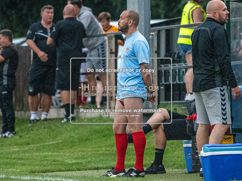 DARTFORD, UK - AUGUST 01: Joe Vines, Assistant Manager of Cray Wanderers FC, takes over on the touchline in the second half during the pre-season friendly match between Phoenix Sports FC and Cray Wanderers FC at The Mayplace Ground on August 1, 2019 in Dartford, UK. <br /> (Photo: Jon Hilliger)