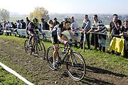 Belgium, November 1 2015:  Jolien Verschueren (#5) leads Femke Van den Driessche (#10) during the women's elite race at the Koppenbergcross 2015 cyclocross event.<br /> Copyright 2015 Peter Horrell.