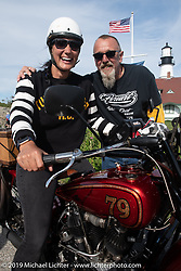 Land-speed record holder Jody Perewitz rode a 1926 Harley-Davidson JD she painted herself (no retro paint job here) on the Motorcycle Cannonball coast to coast vintage run. Portland, ME. Friday September 7, 2018. Photography ©2018 Michael Lichter.