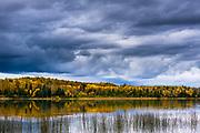 Schoolcraft Lake, afternoon storm clouds, September, Hubbard County, Minnesota, USA