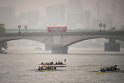 Putney, London, Varsity, Tideway Week, 2nd April 2019, the Oxford University Women's crews line up for the first outing of Tideway week, Embankment, Start of the Oxford Cambridge Media week, Championship Course,<br /> [Mandatory Credit: Peter SPURRIER], Tuesday,  02.04.19,
