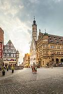 Tourists at the market square, Rothenburg ob der Tauber, Germany