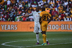 Goalkeeper Itumeleng Khune speaks to Willard Katsande during the 2016 Premier Soccer League match between Orlando Pirates and Kaizer Chiefs held at theFNB Stadium in Johannesburg, South Africa on the 29th October 2016<br /> <br /> Photo by:   Real Time Images