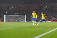 Brazil forward Neymar Jr (10) takes a free kick during the Friendly International match between Brazil and Uruguay at the Emirates Stadium, London, England on 16 November 2018.