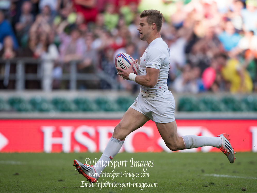 Twickenham, Great Britain, Tom MITCHELL, heading  for the try line during the England vs Scotland match at the Marriott London Sevens played at the  RFU Stadium, Twickenham, ENGLAND. Saturday 16.05.2015<br /> [Mandatory Credit; Peter Spurrier/Intersport-images],