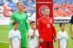 Joe Hart of England and Wayne Rooney of England during the EURO 2016 Qualifier Group E match between Slovenia and England at SRC Stozice on June 14, 2015 in Ljubljana, Slovenia. Photo by Vid Ponikvar / Sportida