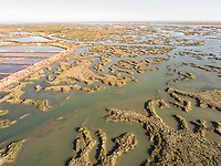 Aerial view of wetland in Portugal.