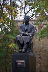 BAKU, AZERBAIJAN - Saturday, November 16, 2019: A monument to literary figure Mirza Alakbar Sabir in Baku, built in 1922, in the Old City of Baku pictured before the UEFA Euro 2020 Qualifying Group E match between Azerbaijan and Wales at the Bakcell Arena. (Pic by David Rawcliffe/Propaganda)