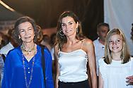 Queen Sofia of Spain, Queen Letizia of Spain, Princess Sofia attends Ara Malikian Concert at Porto Adriano on August 2, 2018 in Mallorca, Spain