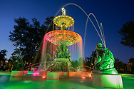 The Studebaker Fountain was turned on during a ceremonial lighting.