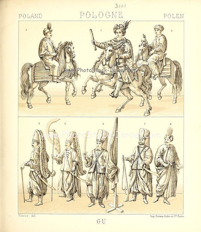 Ancient Polish fashion and lifestyle, 18th century from Geschichte des kostums in chronologischer entwicklung (History of the costume in chronological development) by Racinet, A. (Auguste), 1825-1893. and Rosenberg, Adolf, 1850-1906, Volume 5 printed in Berlin in 1888