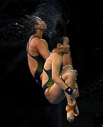 Malaysia's Mun Yee Leong and Nur Dhabitah Sabri compete in the Women's Synchronised 10m Platform Final at the Optus Aquatic Centre during day seven of the 2018 Commonwealth Games in the Gold Coast, Australia.