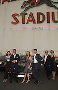 Trip to the Walthamstow dog Race track. A.A. Gill, Tim Jeffreys, Nicola  Fornby, Michael Gambon and a Rolls royce.  30 september 2001 © Copyright Photograph by Dafydd Jones 66 Stockwell Park Rd. London SW9 0DA Tel 020 7733 0108 www.dafjones.com