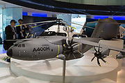 A scale model of the Airbus A400-M transporter aircraft in the companys hospitality chalet at the Farnborough Airshow, on 18th July 2018, in Farnborough, England.