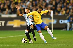 June 9, 2017 - Melbourne, Victoria, Australia - GABRIEL MERCADO (2) of Argentina protects the ball in an international friendly match between Brazil and Argentina at the Melbourne Cricket Ground on June 10, 2017 in Melbourne, Australia. Argentina won 1-0 (Credit Image: © Sydney Low via ZUMA Wire)